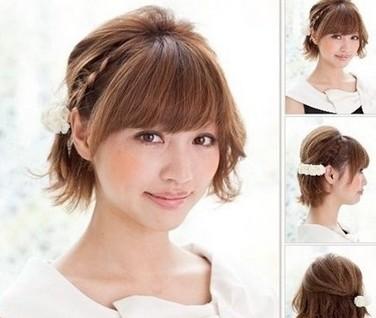短发的编发发型,而这款发型就相对更可爱